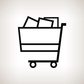 Wózek sylwetka, kosz na zakupy na jasnym tle, czarno-biała ilustracja wektorowa