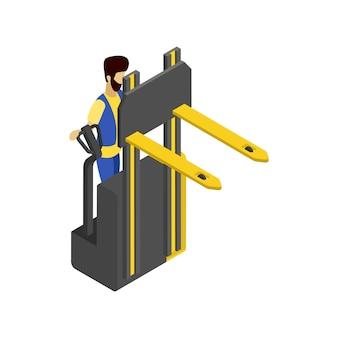 Wózek widłowy izometryczny 3d ilustracja
