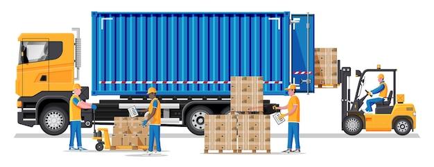 Wózek widłowy ładuje skrzynie paletowe do ciężarówki. magazynier z listą kontrolną. ładowarka elektryczna ładująca kartony w samochodzie dostawczym. logistyczna wysyłka ładunków. sprzęt do przechowywania. płaska ilustracja wektorowa
