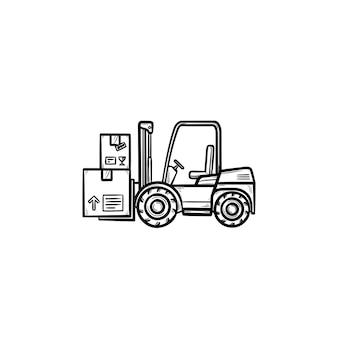 Wózek widłowy magazyn z kartonów ręcznie rysowane konspektu doodle ikona. ładowarka, koncepcja pojazdu magazynowego. szkic ilustracji wektorowych do druku, sieci web, mobile i infografiki na białym tle.