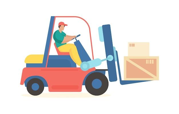Wózek widłowy przewozi pudła transport towarów przemysłowych i kontenerów do magazynu