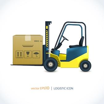 Wózek widłowy z ikoną logistyczną