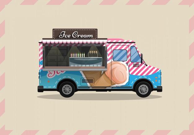 Wózek z lodami, kiosk na kółkach, detaliści, desery mleczne