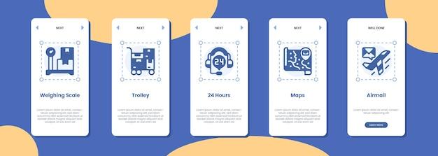 Wózek z wagą ekranu aplikacji mobilnej 24 godziny mapuje pocztę lotniczą