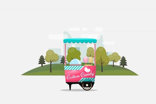 Wózek z waty cukrowej, kiosk na kółkach