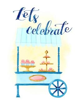 Wózek ze słodyczami celebracja zaproszenia na karty akwarelowe