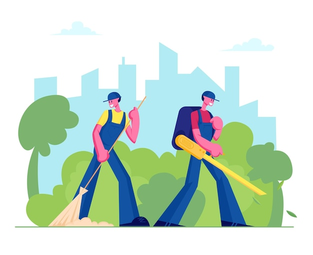 Woźni mężczyźni i postacie sprzątacze ulic zamiatanie trawnika i wydmuchiwanie opadłych kolorowych liści w tle krajobrazu parku miejskiego.