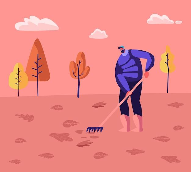 Woźny męski charakter sprzątacz ulic trzymający grabie zamiatanie trawnika i grabienie opadłych kolorowych liści w tle krajobrazu parku miejskiego. ilustracja płaski kreskówka