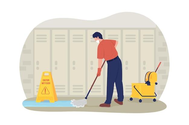 Woźny szkoły w korytarzu 2d wektor ilustracja na białym tle. dorosły mężczyzna sprzątaczka mopem w szkole korytarzu płaskich znaków na tle kreskówki. kolorowa scena zapobiegająca koronowirusowi