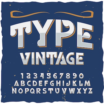 Wpisz alfabet w stylu vintage