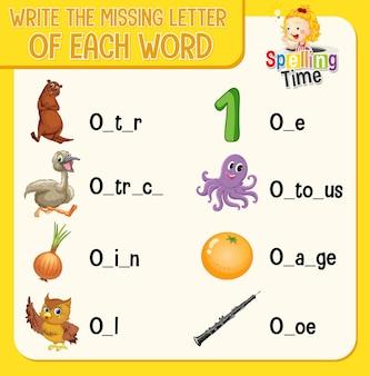 Wpisz brakującą literę w każdym arkuszu ze słowami dla dzieci