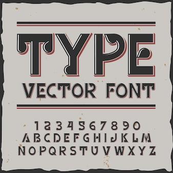 Wpisz tło z etykietą w stylu vintage edytowalne cyfry liter z kolorową ilustracją obrysu