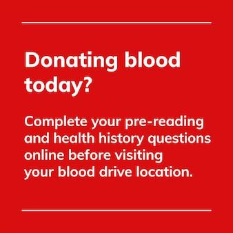 Wpłać dzisiaj szablon charytatywny wektor kampanii oddawania krwi w mediach społecznościowych w minimalistycznym stylu