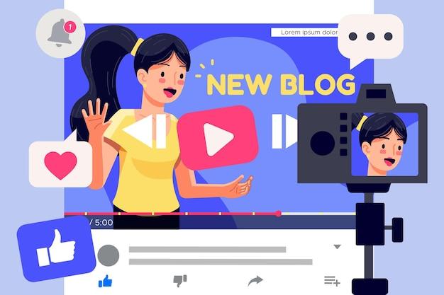 Wpływowy rejestrujący nowe wideo w internecie