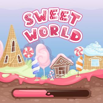 Wprowadzenie do gry fantasy. ekran startowy do gry wideo z pysznym karmelowym ciasteczkiem czekoladowym karmelowym szablonem strony internetowej lollipop