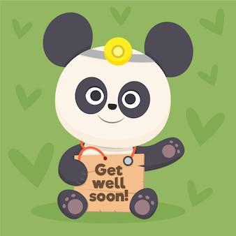 Wracaj do zdrowia wkrótce cytat i panda bear
