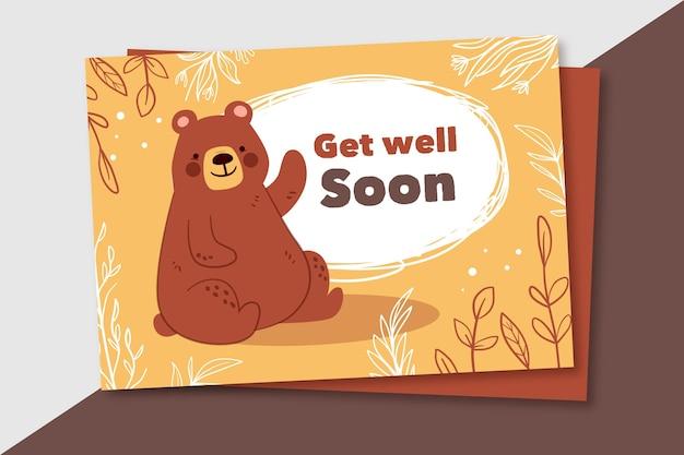 Wracaj do zdrowia wkrótce karta z niedźwiedziem