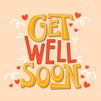 Wracaj do zdrowia wkrótce napis wiadomości