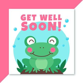 Wracaj do zdrowia wkrótce urocza karta z rumieńcem żaby