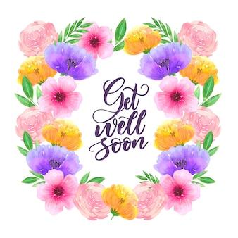 Wracaj do zdrowia wkrótce z malowanymi kwiatami