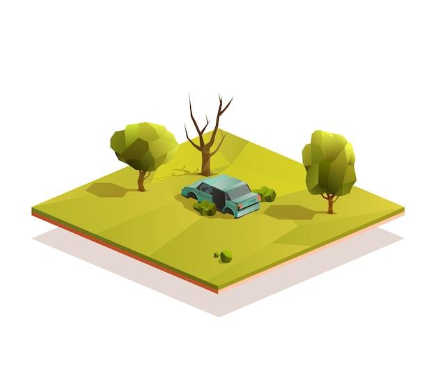Wrak samochodu na środku łąki