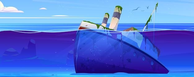 Wrak statku zatopionego parowca z rurami na dnie
