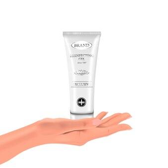 Wręcza dezynfekującego gel w palmie twój ręka na odosobnionym tle, realistycznej białej butelce i rękach, ilustracja