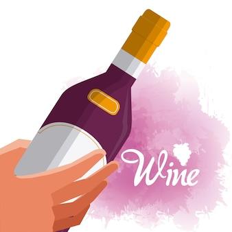 Wręcza ith wino butelki wektorowego ilustracyjnego graficznego projekt