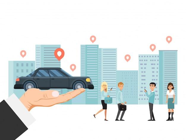 Wręcza mieniu luksusowego samochód, miasto pojazdu udostępnianie odizolowywający na białej, płaskiej ilustraci ,. mały charakter osoby stojący krajobraz miejski.