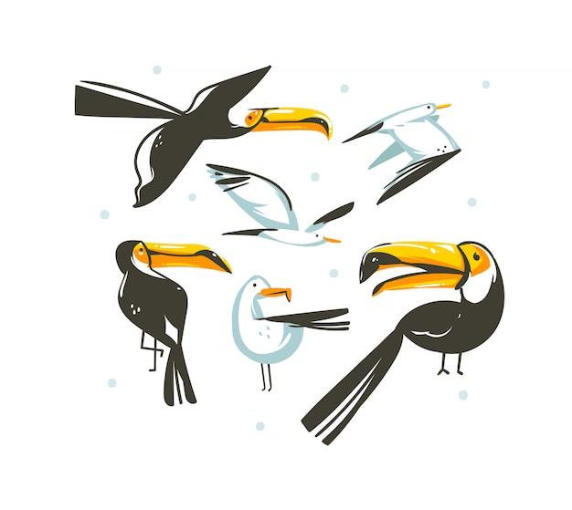 Wręcza patroszoną abstrakcjonistyczną kreskówki lata czasu dekoraci graficzną ilustrację
