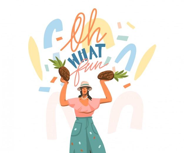 Wręcza patroszoną abstrakt akcyjną graficzną ilustrację z szczęśliwą kobietą i ręcznie pisany pozytywem oh jaki zabawa wycena kształtuje tekst i kolaż na białym tle