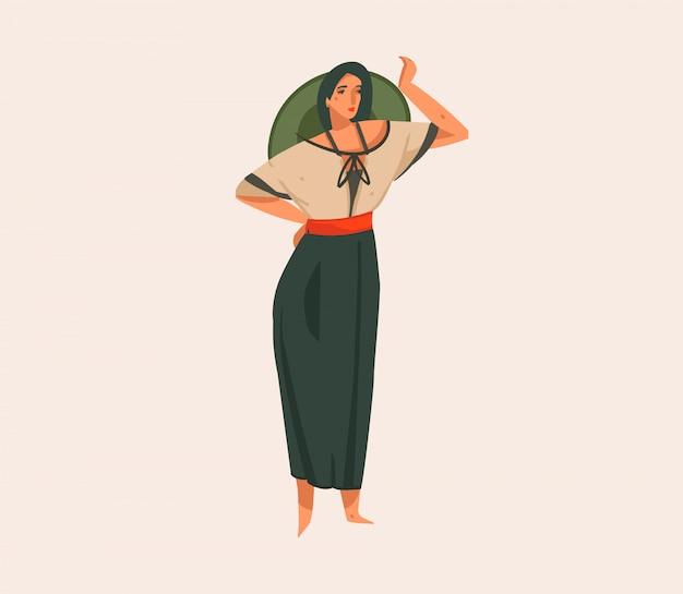 Wręcza patroszoną akcyjną abstrakcjonistyczną graficzną ilustrację z dziewczyną w kapeluszu i mundurze na dzikim safari na białym tle