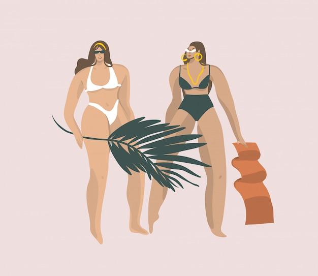Wręcza patroszoną graficzną ilustrację z bikini dziewczynami na plaży z tropikalnym palmowym liściem odizolowywającym