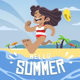 Wręcza patroszoną ilustrację dziewczyna w wodzie