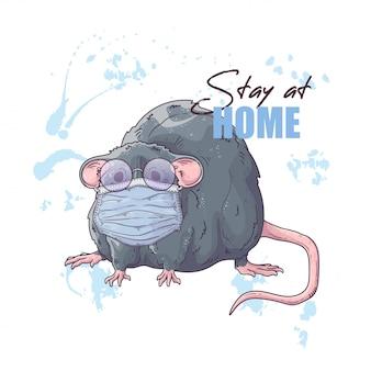 Wręcza patroszoną ilustrację śliczny szczur w medycznej masce