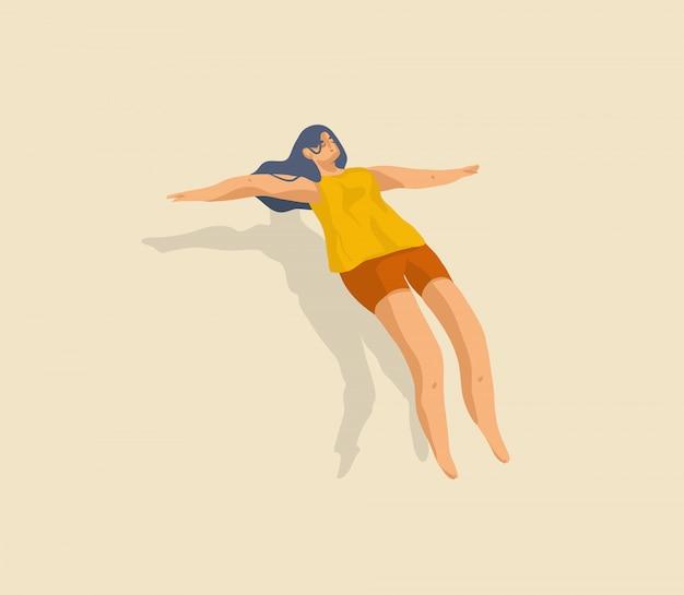 Wręcza patroszoną kreskówki ilustrację z jaźń odosobnienia samotną dziewczyną relaksuje lewituje dosypianie odizolowywającego na koloru tle