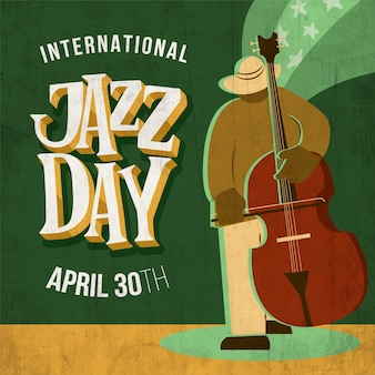 Wręcza patroszoną międzynarodową jazzowego dnia ilustrację z mężczyzna bawić się wiolonczelę