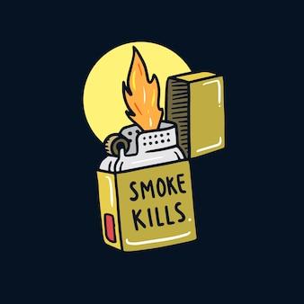 Wręcza patroszoną palenie zabronione starej zapalniczki tatuażu ilustrację