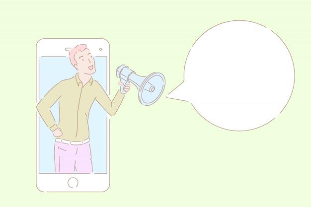 Wręcza patroszoną stylową wektorową ilustrację mężczyzna mówi od smartphone.