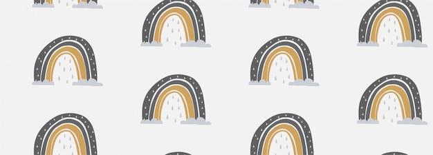 Wręcza patroszoną wektorową bezszwową deseniową ilustrację śliczna tęcza