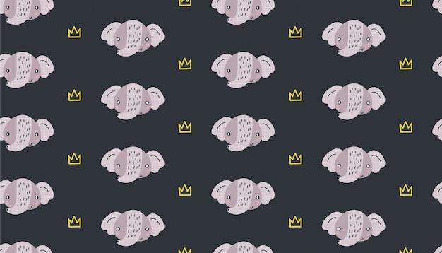Wręcza patroszoną wektorową bezszwową deseniową ilustrację śliczny śmieszny słoń. płaski design w stylu skandynawskim dla dzieci. pomysł na tekstylia dziecięce, opakowania, tapety