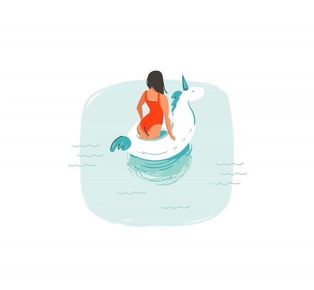 Wręcza patroszone abstrakcjonistyczne kreskówki lata czasu zabawy ilustracje z pływacką dziewczyną odizolowywającą na białym tle
