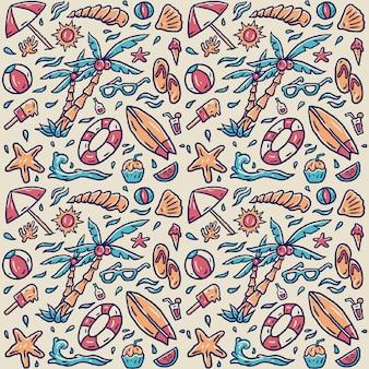 Wręcza patroszonego plażowego elementu wzór, ręka rysująca linia z cyfrowym kolorem, ilustracja