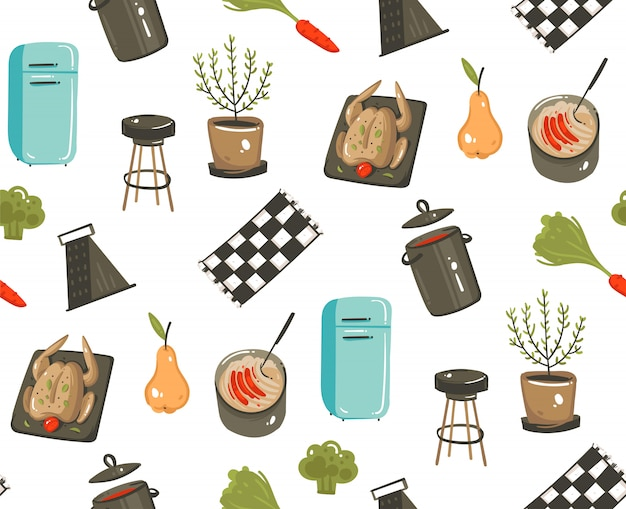 Wręcza patroszonej nowożytnej kreskówki czasu kulinarnej zabawy ilustracyjnych ikon bezszwowego wzór z kulinarnym wyposażeniem, jedzeniem i kuchennymi naczyniami odizolowywającymi