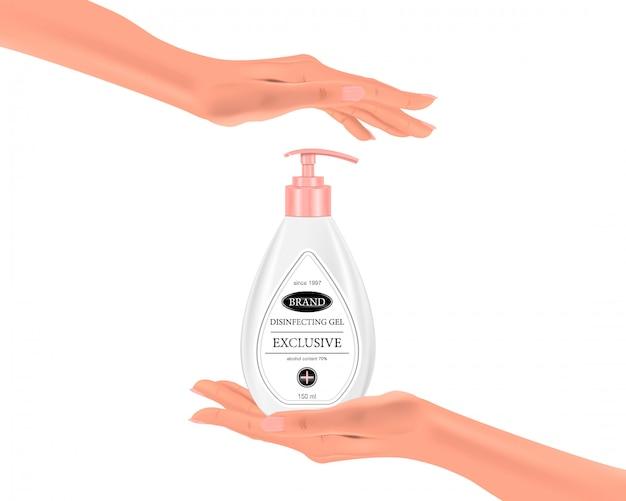 Wręcza sanitizer gel w palmie twój ręka na odosobnionym tle, realistycznej butelce i rękach, ilustracja
