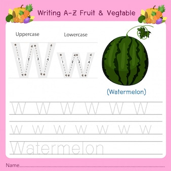 Writing az fruit & vegetables w