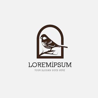 Wróbel ptak vintage retro logo