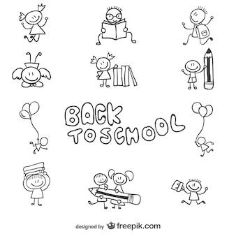 Wróć do szkoły dzieci doodle grafiki