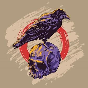 Wrona na czaszce