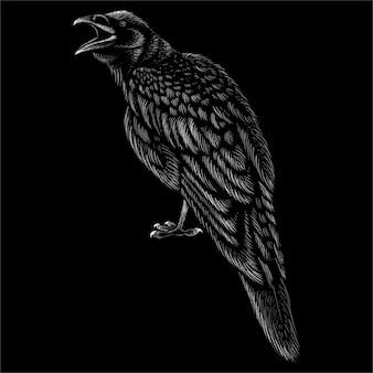 Wrona z czarnym tłem.